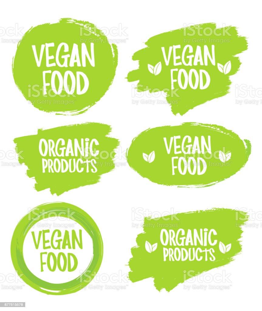 Vegan food. stamp. sticker vector art illustration