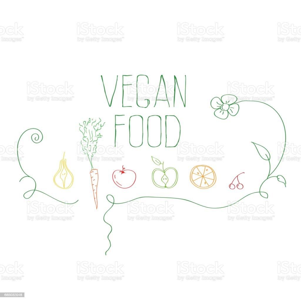 vegan food vector art illustration