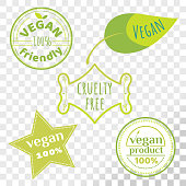 Set of cruelty free emblems that proves animal rights protection.
