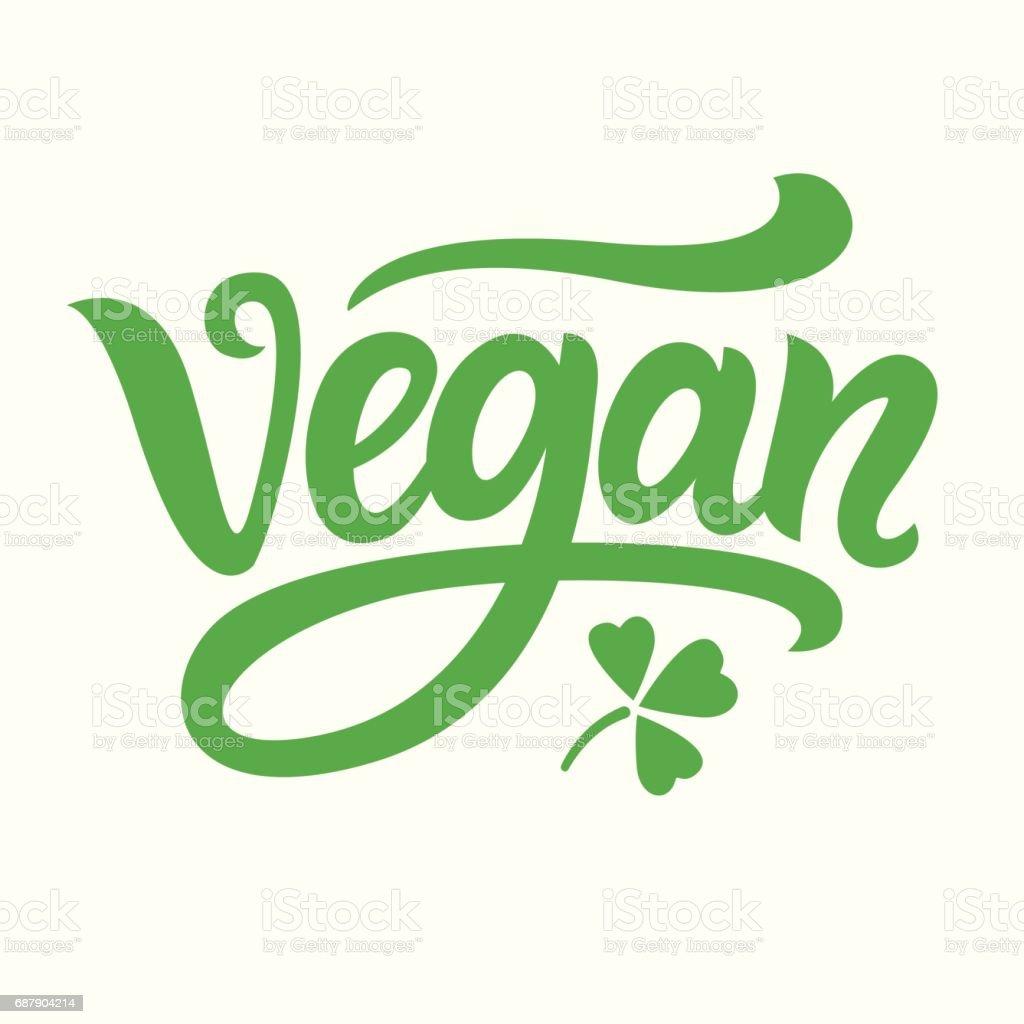 Mano de vegano verde escrita Letras - ilustración de arte vectorial