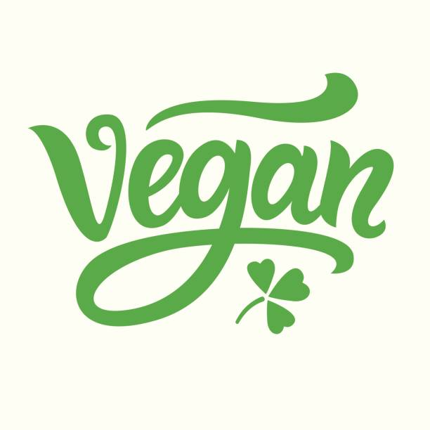 Vegan green hand written lettering vector art illustration