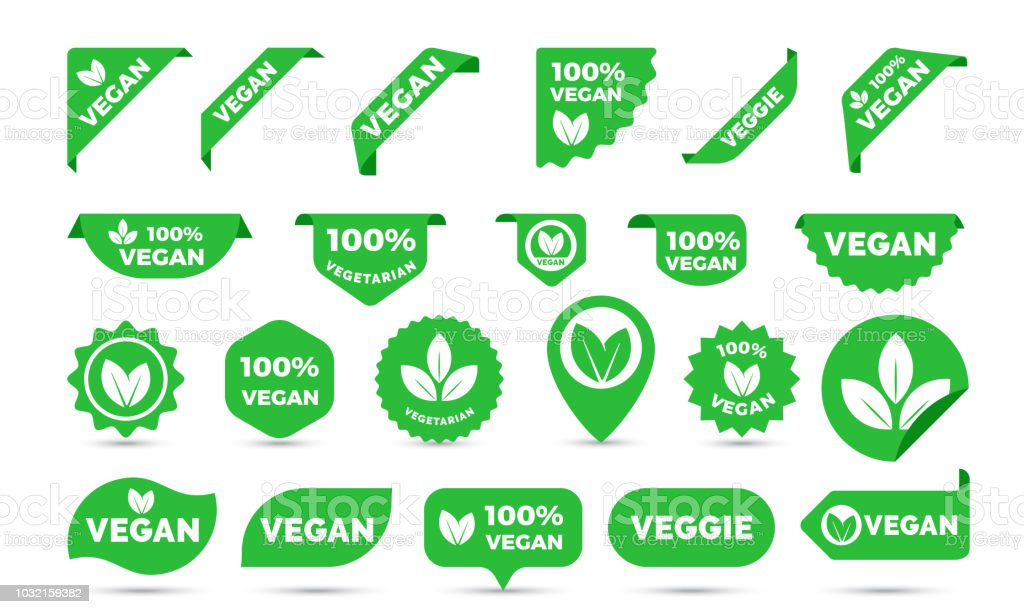 Vegan green stickers set for vegan product shop tags, vegetarian labels or banners and posters. Vector vegan sticker icons templates set vector art illustration