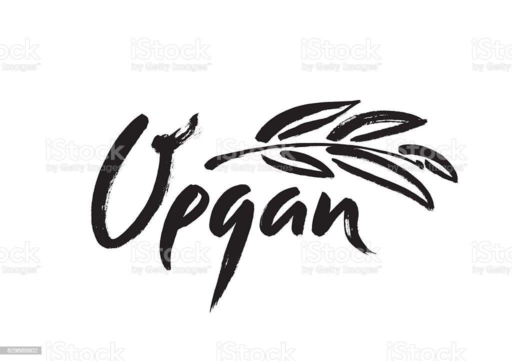 Vegan hand written calligraphy lettering with leaf for menu vector art illustration