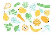Vegan healty food. Detox. Set fruit, vegetables, greenery. Vector illustration.