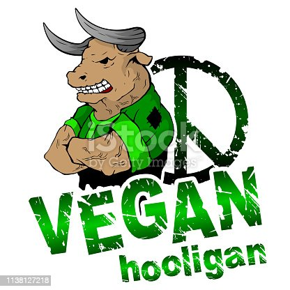 Vegan hooligan - bull. Vector illustration. T-shirt print. Eps 10