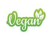Vegan icon design. Green vegan friendly symbol. Vector illustration