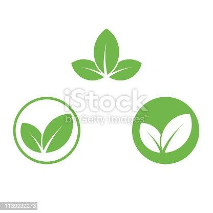istock Vegan icon green leaf label template for vegan or vegetarian food package design. Isolated green leaf icon for vegetarian bio nutrition and healthy diet or vegan restaurant menu symbols set 1139232273