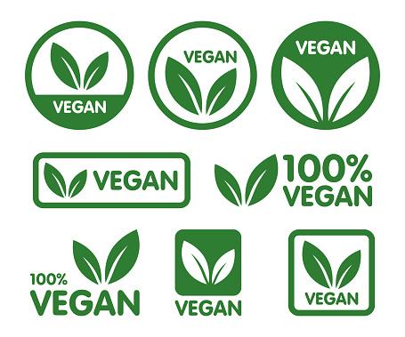 Vegan Icon Set Bio Ecology Organic Logos And Icon Label Tag Green Leaf Icon On White Background - Immagini vettoriali stock e altre immagini di Adesivo