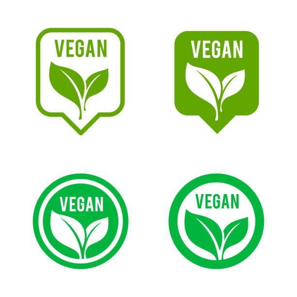 ilustraciones, imágenes clip art, dibujos animados e iconos de stock de conjunto de iconos de vegan. bio, ecología, logotipos orgánicos e icono, etiqueta, etiqueta. - vegana
