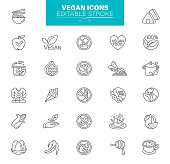 Food Icons Collection. Gluten, Lactose and Sugar Free. Vegan Food and Eco friendly. Editable Strokes.
