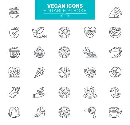 Vegan Icons. Veganism, healthy food, Gluten Free