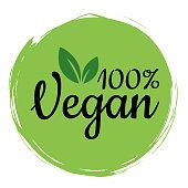 Vegan is one hundred percent. Vector illustration of food design. Inscriptions for a restaurant or cafe. Vector elements for labels, logos, badges, labels or signs.