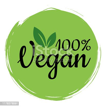 Vegan is one hundred percent. Vector illustration of food design. Inscriptions for a restaurant or cafe. Vector elements for labels, logos, badges, labels or signs.