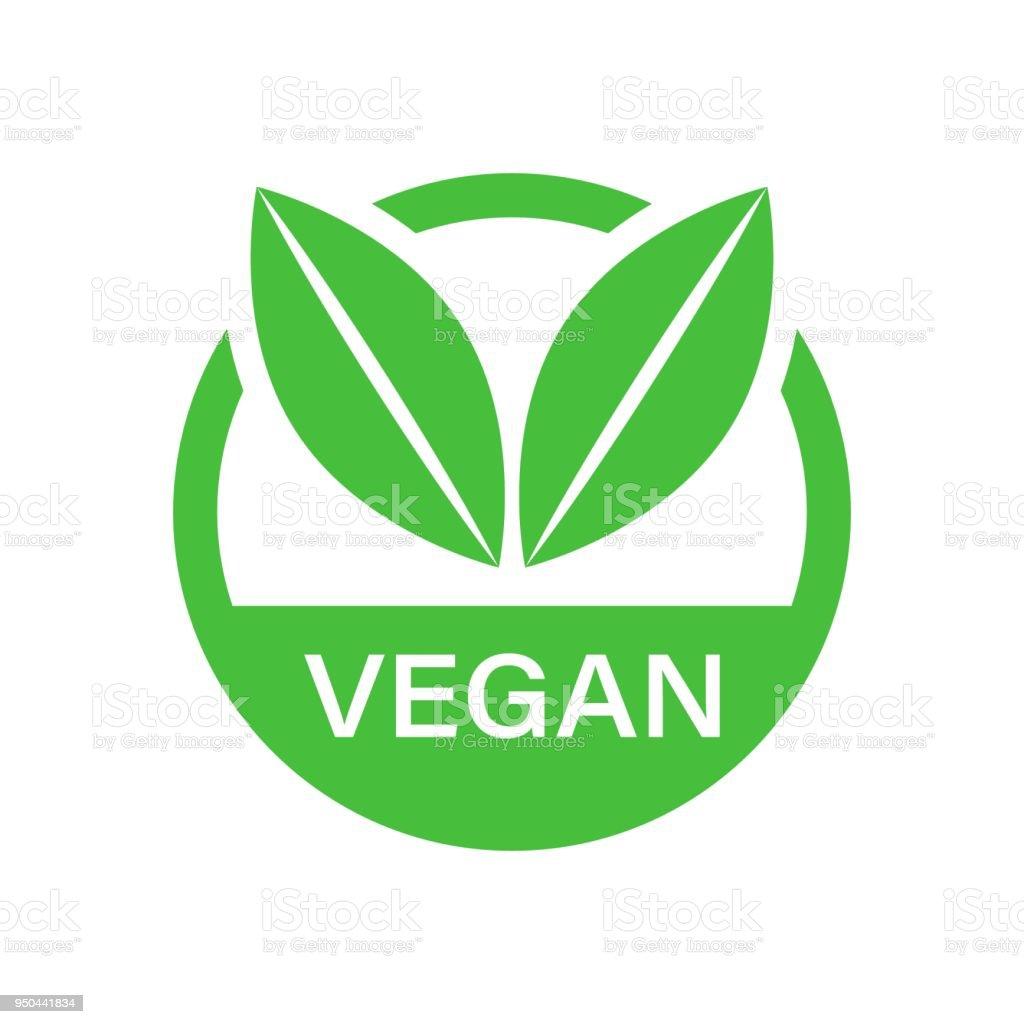 Vegane Label Abzeichen Vektor Icon im flachen Stil. Vegetarische Stempel Abbildung auf weißem hintergrund isoliert. Eco-Natural Food-Konzept. – Vektorgrafik