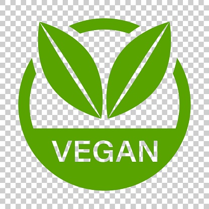 Vegan label badge vector icon in flat style. Vegetarian stamp illustration on isolated transparent background. Eco natural food concept.