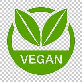 istock Vegan label badge vector icon in flat style. Vegetarian stamp illustration on isolated transparent background. Eco natural food concept. 958535916
