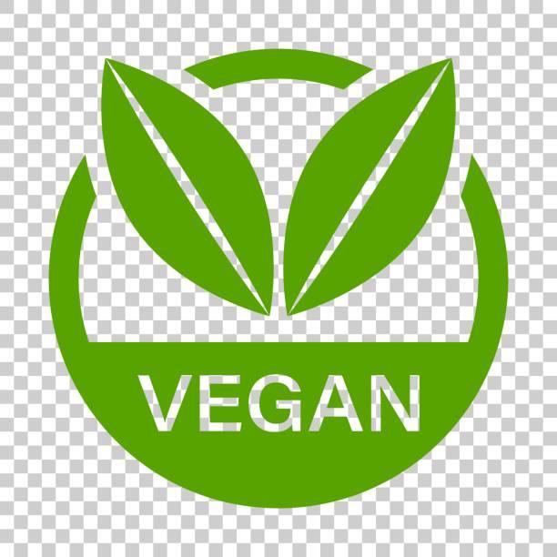 ilustraciones, imágenes clip art, dibujos animados e iconos de stock de vegan sello insignia vector icono estilo plano. ilustración de sello vegetariano sobre fondo transparente aislada. concepto de alimento natural eco. - vegana