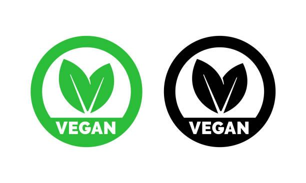 Vegan label template for vegetarian food. Green leaf icons set for vegetarian or vegan healthy nutrition or veggie package design vector art illustration