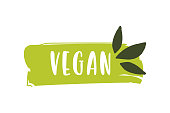 Vegan Logo. Raw, Healthy Food Badge, tag for Cafe, Restaurants and Packaging
