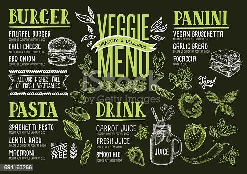 istock Vegan menu restaurant, food template. 694163266