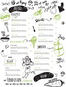 Vegan menu with hipster chef, doodle organic food and lettering. Funny ecological concept.