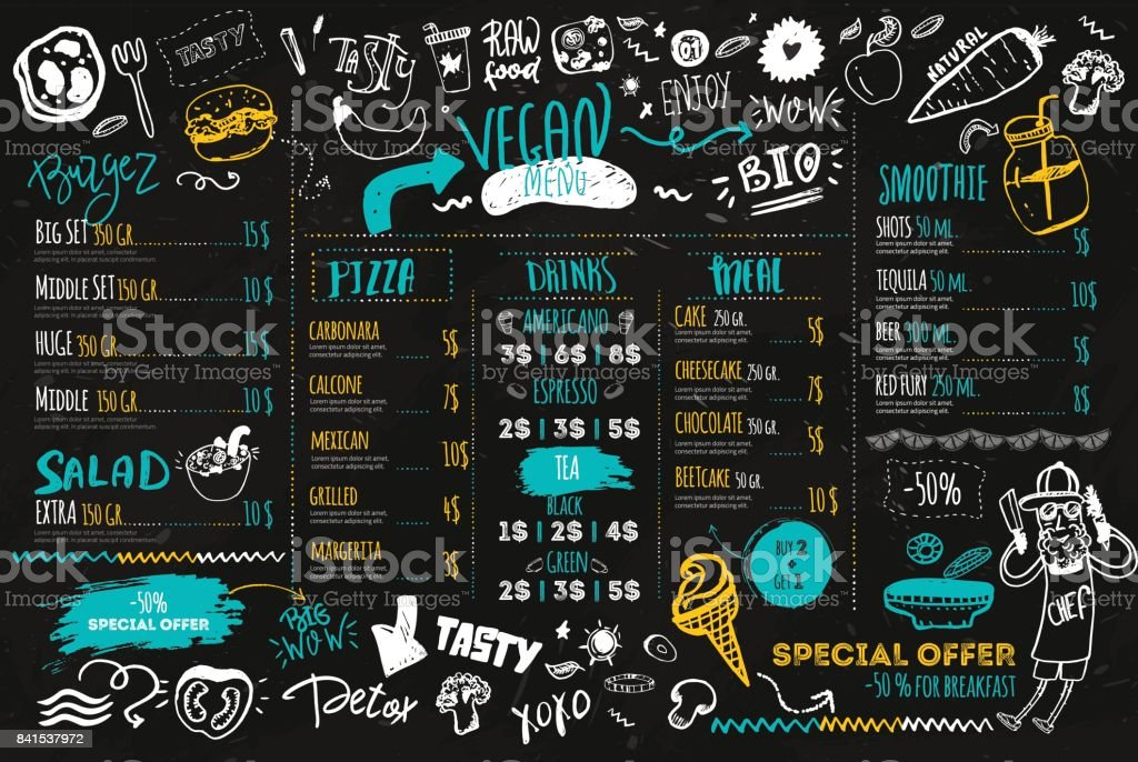 Vegan menu with hipster chef, doodle organic food and lettering. ecological concept on dark chalk board vector art illustration