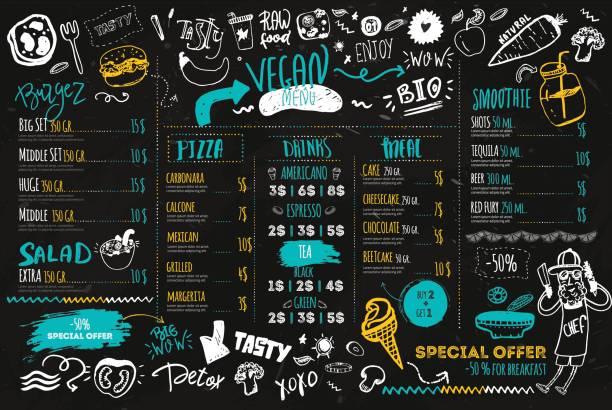 ilustraciones, imágenes clip art, dibujos animados e iconos de stock de menú vegano con chef de hipster, doodle letras y alimentos orgánicos. concepto ecológico en pizarra oscuro - comida cruda
