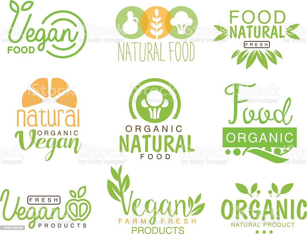 vegan natural food set of template cafe logo signs stock vector art