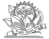 Vegan Plant-Based Food Label Drawing