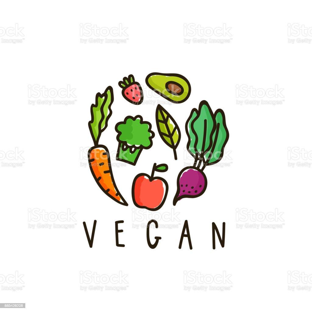 Signo de vegano aislado en blanco. - ilustración de arte vectorial