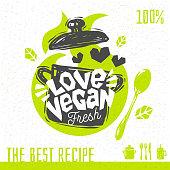 Vegan soup love heart logo fresh organic recipes hundred percent vegan vegetarian yummy sign pot spoon design element for stickers, product labels. Hand drawn vector illustration