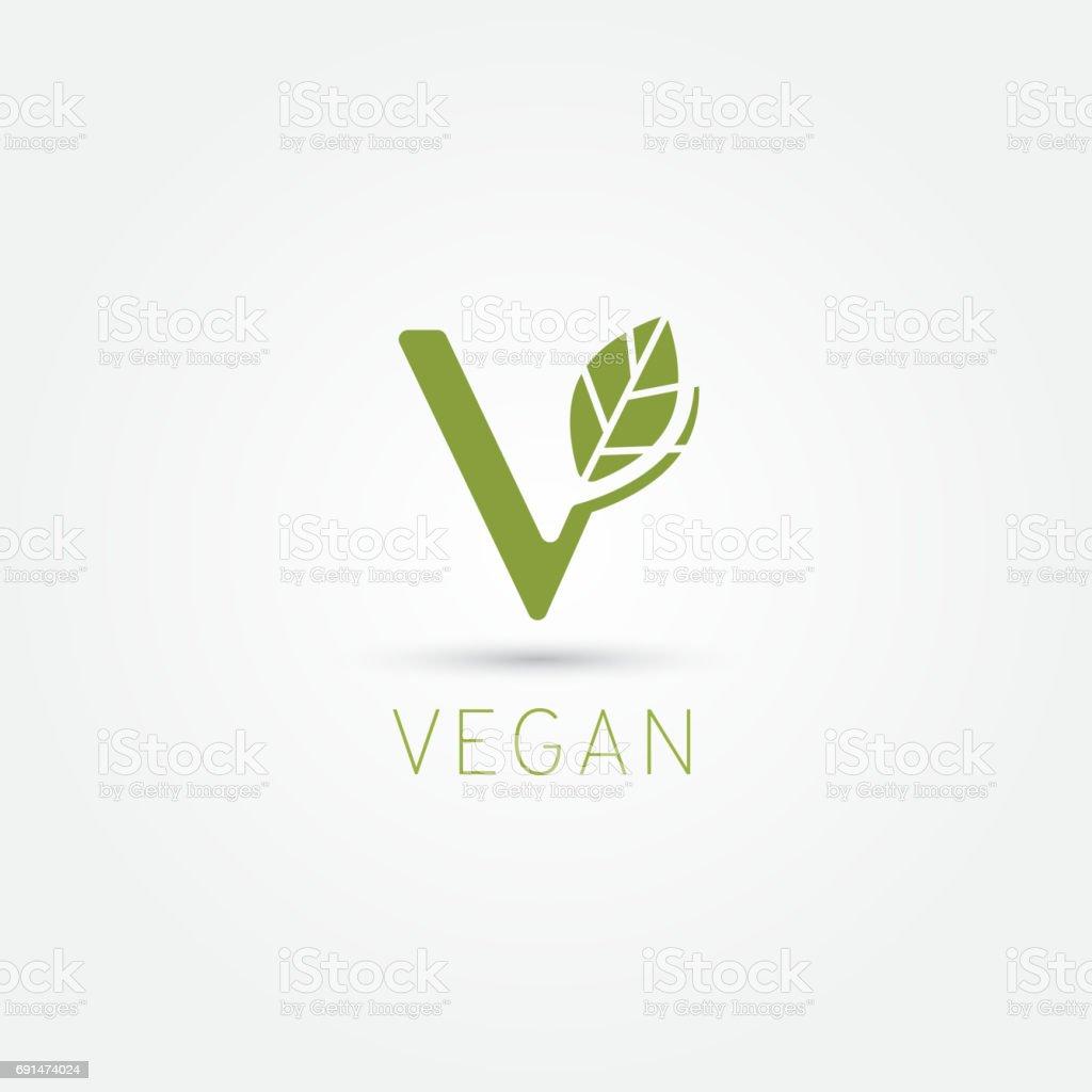 Símbolo de vegano, icono de V - ilustración de arte vectorial