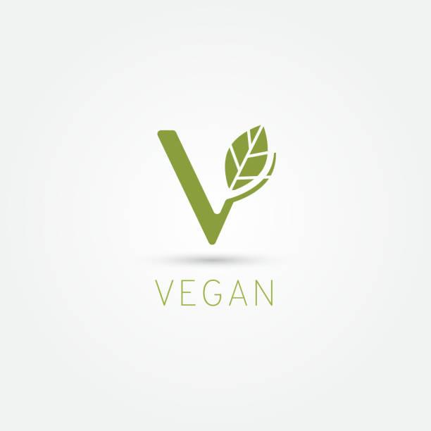 Vegan symbol, V icon vector art illustration