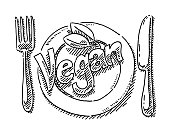 Vegan Text Table Setting Drawing