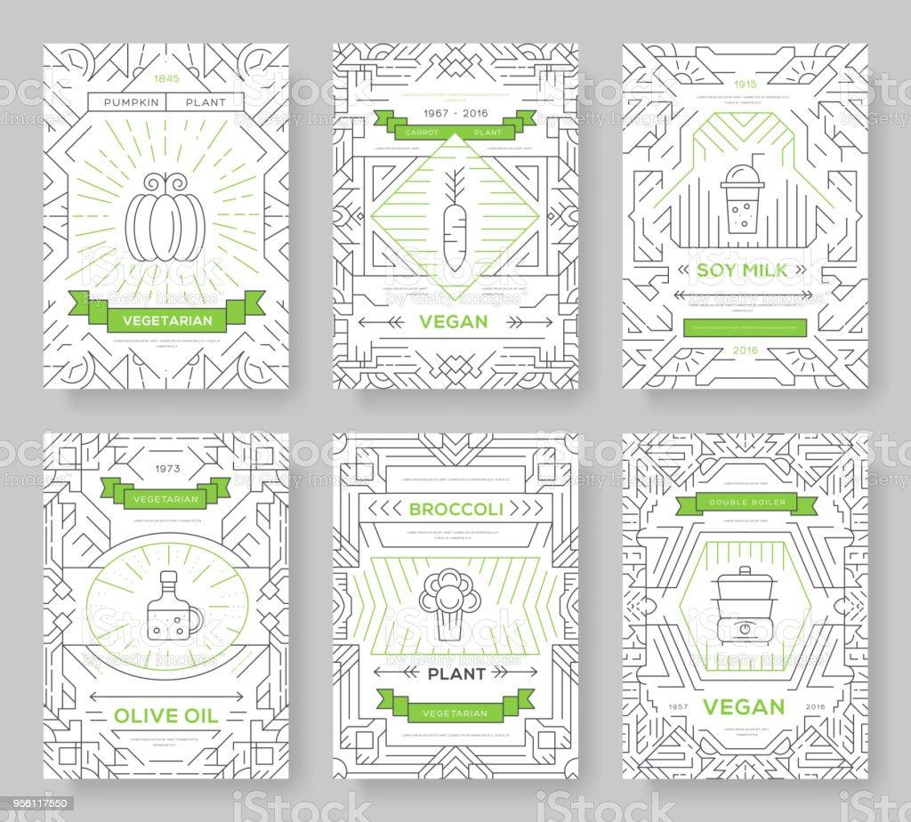 Ilustración de Vegan Vector Brochure Tarjetas Configuradas Vegetal ...
