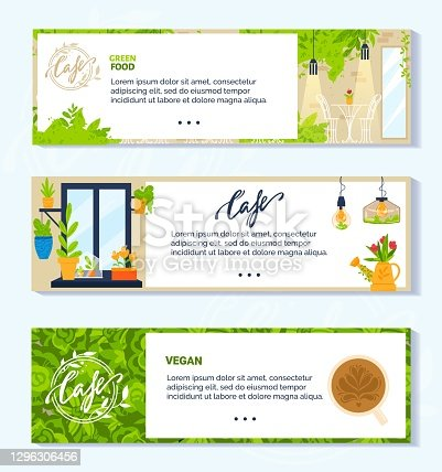 istock Vegan vegetarian green cafe vector illustrations, cartoon flat banner collection with modern interior of veggie cafeteria 1296306456