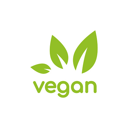 Vegan, veggie product label. Green leaves in circle icon.
