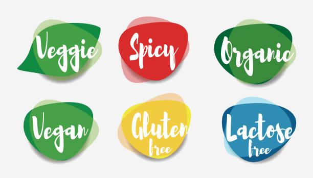 bildbanksillustrationer, clip art samt tecknat material och ikoner med vegan veggie kryddig ekologisk fri gluten och laktos gratis ikoner vektor. - vegetarian