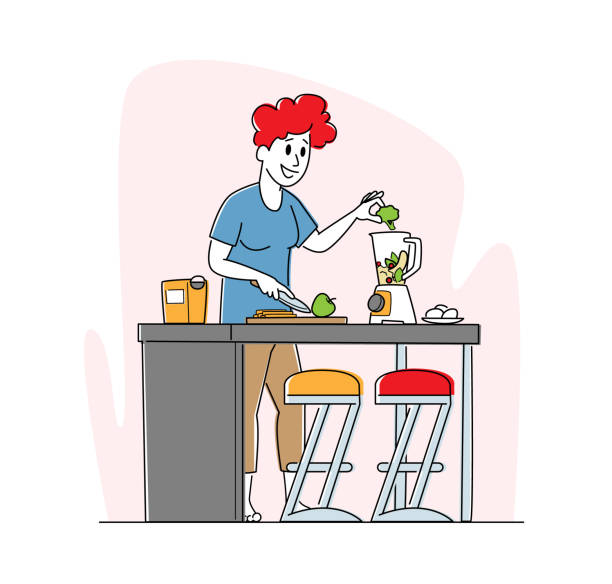 Vegan Woman Cooking Fruit and Vegetable Smoothie Put Apple and Broccoli in Juicer Machine. Healthy Lifestyle, Eco Food Vegan Woman Cooking Fruit and Vegetable Smoothie Put Apple and Broccoli in Juicer Machine. Healthy Lifestyle, Eco Food Eating, Female Character Detox Program for Wellbeing. Linear Vector Illustration crucifers stock illustrations