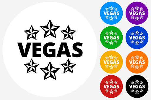 Vegas Icon on Flat Color Circle Buttons
