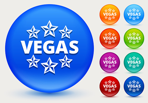 Vegas Icon on Shiny Color Circle Buttons