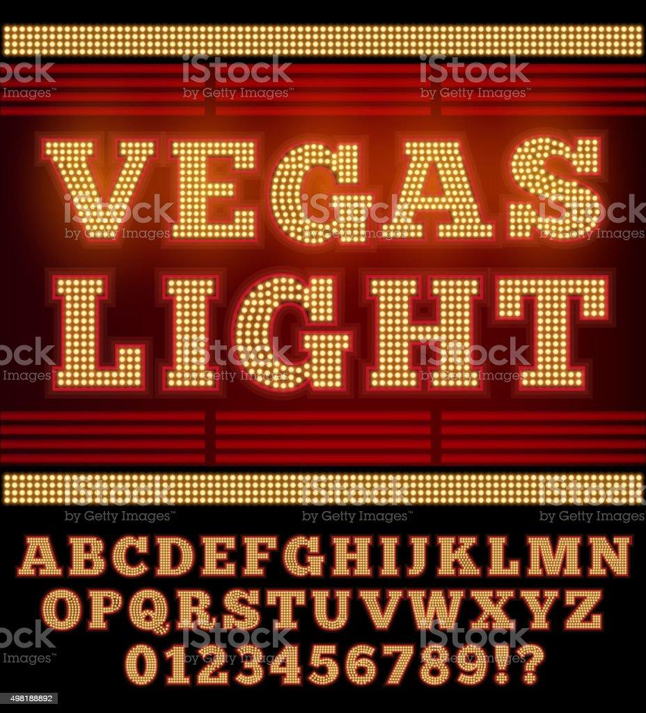 Vegas Night Font vector art illustration