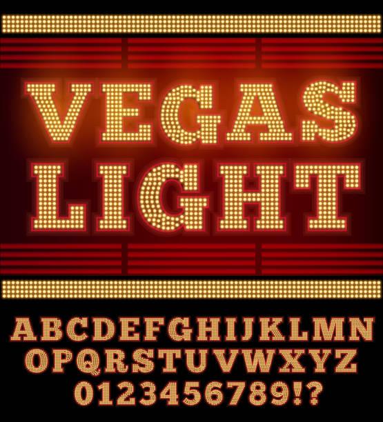 illustrazioni stock, clip art, cartoni animati e icone di tendenza di notte di las vegas font - las vegas