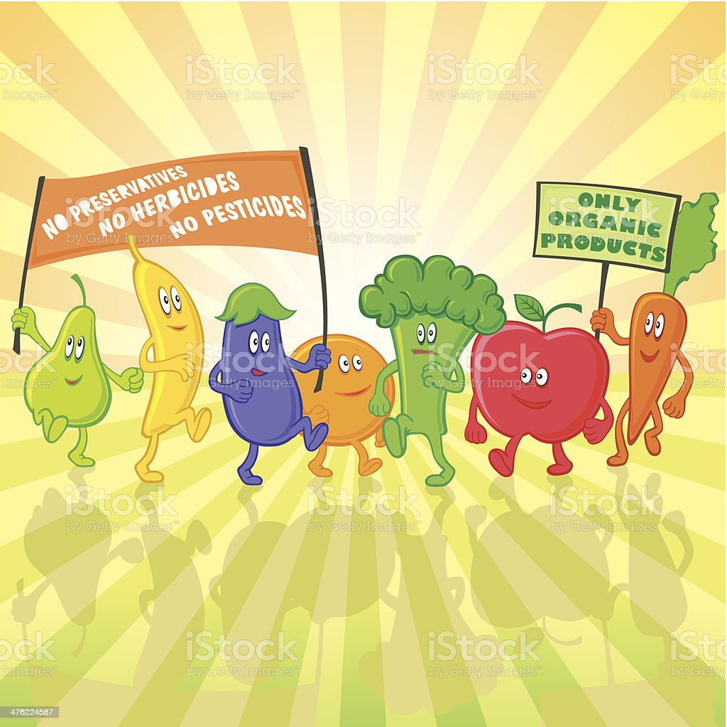 vegetable and fruit characters parade royalty-free stock vector art