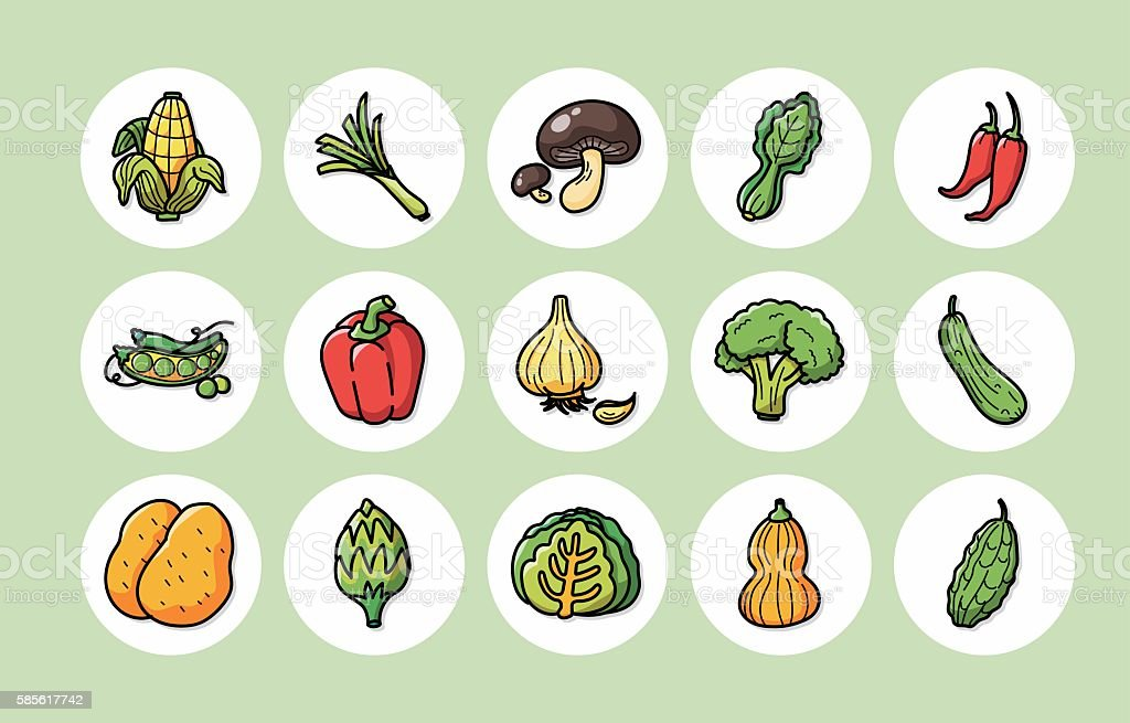 Vegetable and fruit icons set,eps10 vector art illustration