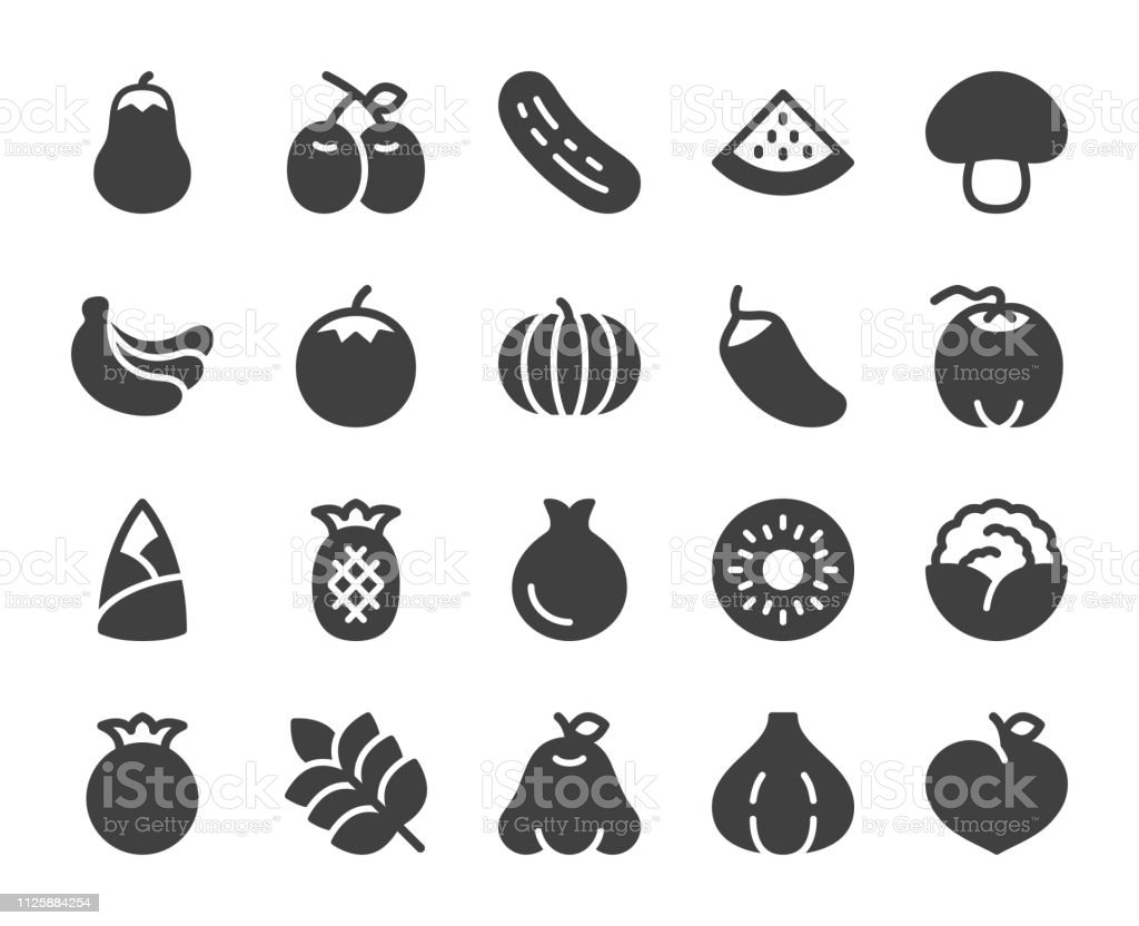 Vegetable and Fruit - Icons vector art illustration