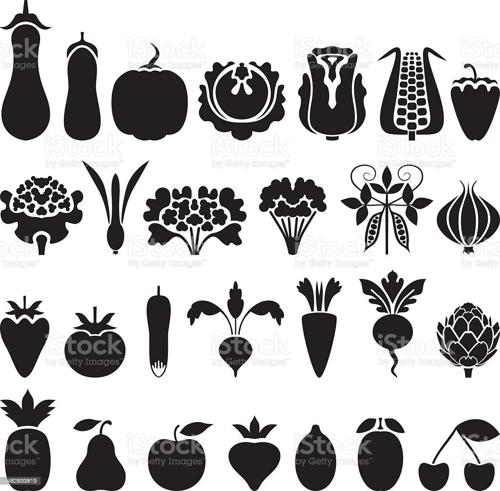 Vegetable and fruit icons vector art illustration