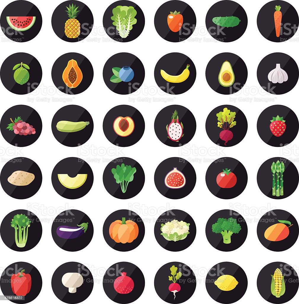 Vegetable and fruit icons vector set. Modern flat design. vector art illustration