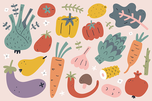 Vegetable and fruit set, hand drawn doodle illustration, modern vector clipart, tomato, garlic and onion, agriculture harvest products, oragnic whole foods isolated on white background