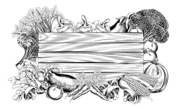 bildbanksillustrationer, clip art samt tecknat material och ikoner med grönsaker och frukter producera tecken - wood sign isolated